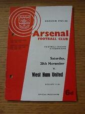 20/11/1965 Arsenal v West Ham United  (Punched Holes). Item In very good conditi