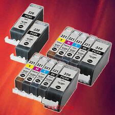 12 PGI-220BK/CLI-221 BK CMY INK FOR CANON MP640R MP620B