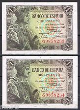 PAREJA DE BILLETES 1 PESETA 1943 FERNANDO EL CATÓLICO Serie G Pick 126  SC  UNC