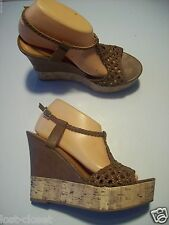 Madden Girl Coooper Brown Woven T-Strap Platform Sandals Shoes Size 9 @ cLOSeT