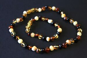 Set of Chain & Bracelet Made Of Baltic Amber Gift Children Baby Boy Girl Baby's