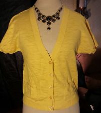 MOSSIMO SS Button Down w/ Pockets 100% Cotton Yellow Lightweight Sweater size M