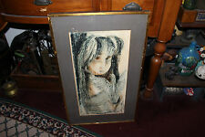 Vintage Oil Painting Asian Girl Holding Dove Bird-Signed-Chinese Japanese-1968