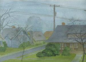 VINTAGE BLUE GREEN GRAY HOUSES STREET TELEPHONE POLE LINES WIRES W/C PAINTING