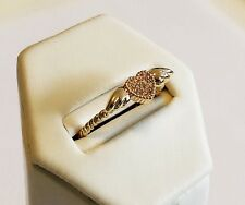 Emo 14K Gold filled Heart wings solitaire Cubic Zircon ring sz 5.5 Israel made