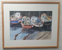 Ian Sidaway b1951 large original signed water colour painting Polperro Harbour