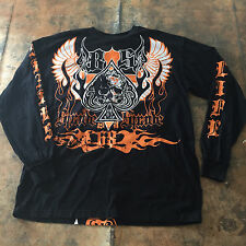 Blac Label Shirt - Black Spade Death Dealers Distressed Stitched Long Sleeve 3XL