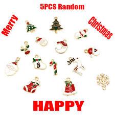 XMS Enamel Charm Christmas Tree/Snowman/Santa Claus/Moon Beads Pendant 5pcs