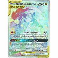 259/236 Reshiram & Zekrom TAG TEAM GX | Rare Rainbow Card Cosmic Eclipse Pokemon