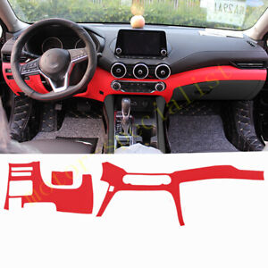 Red Dashboard Panel Decorative Strip Cover Leather For Nissan Sentra 2020-2021