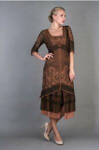 "Natalya Victorian Dress ""Terracotta"" Orange/Brown S Nataya Gatsby Party NWT#2101"