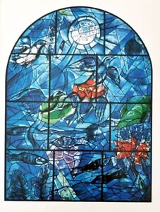 """Marc Chagall Jerusalem Windows + Lithograph of """"Reuben"""" + After the Vitral"""