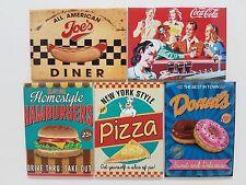 Amerikanisches Diner Hot Dog Cola Burger Pizza Donut NEUHEIT Kühlschrank-Magnet