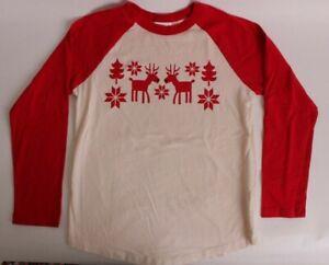 Hanna Andersson long sleeve Christmas shirt, size 140 cm, size 10, reindeer