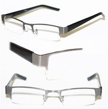 Reading Glasses BRUSHED METAL Top Only HEMATITE GRAY Frame Narrow Lens +1.75
