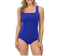 Speedo Womens Solid Blue Shirred Tank Square Neck One Piece Swimsuit Size 6