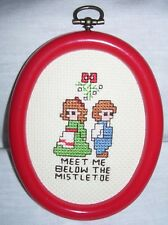 Completed Cross Stitch Christmas Ornament Mistletoe Boy Girl Framed Wall Hanging