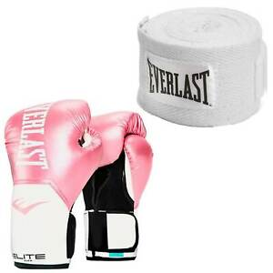 Everlast Pink Elite Boxing Gloves 12 Ounce & White 120-Inch Hand Wraps