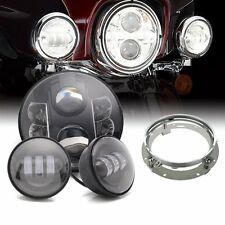 7inch 80W LED Headlights Passing Lamp Kit for Harley Davidson Daymaker Style