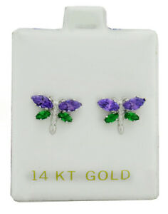 DEEP PURPLE AMETHYST & EMERALDS DRAGONFLY EARRINGS 14K WHITE GOLD* New With Tag