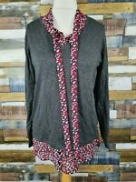 George Ladies Grey/Red Layered Long Sleeved Thin Jumper Blouse Top Size UK 14