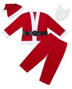 Boys Santa Costume Hat Suit Claus Kids Father Christmas Xmas Fancy Dress Outfit