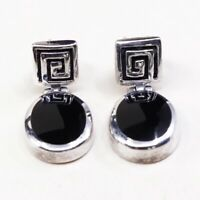 Vintage Sterling Silver Handmade Earrings, 925 Silver Studs W/ Obsidian Dangles