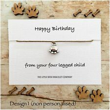 HAPPY BIRTHDAY From The DOG CAT Pet Animal Friendship Wish Bracelet Gift Lover