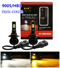 2PCS 9005/HB3 160W LED 6000K White/3000K Orange  Dual Color Fog Driving DRL Bulb