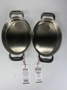 """All-Clad Stainless Steel 7"""" Oval-Shaped Baker Gratin No Box W/Tag Set Of 2"""