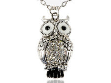 Lady Enamel Wide Eyed Alloy Crystal Rhines Hooting Owl Pendant Necklace Jewelry