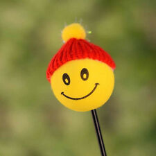 1x Yellow Happy Smiley Face With Wool Hat Car Antenna Pen Topper Aerial Ball