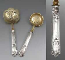 Antique French Sterling Silver Strawberry Set, Berry Spoon and Sugar Spoon