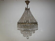 ~c 1930 French Empire Oval Crystal Beaded 4 Tiers Prisms RARE Chandelier OLD~