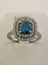 14k White Gold, Blue Diamond 1.4 CWT Lady's Ring  US Size 6 1/4