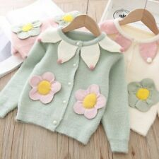 Velvet Cardigan Clothes Toddler Baby Girls Knitted Warm Tops Flower Jacket Coat