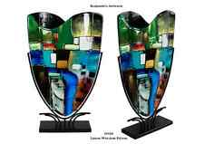 New Hand Made Fused Glass Vase Hand Painted Mosaic Style Blue Green