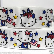 "Grosgrain Ribbon 7/8""  Hello Kitty 4th of July Printed for Hairbows USA SELLER"