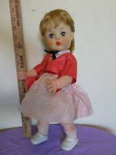 "Vintage 15"" Horsman Vinyl Doll Dark Blonde Ponytail Red Polk-a-Dot Dress"