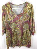 Fiorlini International Paisley Blouse Shirt Women's Size 22/24 3/4 Sleeve x53