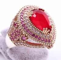 Turkish Handmade Jewelry 925 Silver Ruby Stone Ladies Woman Ring ALL SİZE us