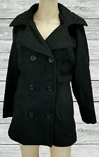 Alpine Swiss Size S Women's Black Jacket PeaCoat Military winter coat Wool NWT