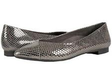 VIONIC Gem Caballo Pointed Toe Leather Flats Shoes Size 5 Gunmetal Snake