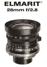 1966 LEICA ELMARIT f/2.8 28mm CAMERA LENS BROCHURE -for LEICA M2 & M3