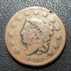 1834 Large Cent F Condition, All Brown Color, Nice Detail on Both Sides