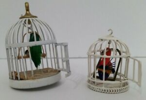 Dollhouse Miniature Artisan Made Iron Bird Cages with Parrot+Macaw - 1:12 Scale