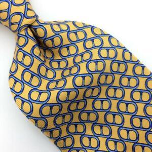 Brooks Brothers Tie Yellow Blue Geometric Ovals Italian Silk Necktie Men I17-466
