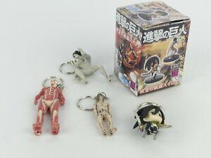 4 x Figurine Keychains. Attack On Titan. New in Open Box.
