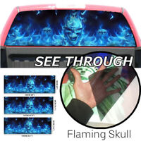 Window Sticker Wall Decal Waterproof PVC Blue Flaming Skull Car Truck  /