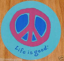 """Life is Good Sticker/Decal 4"""" Round Peace Turquoise with Deep Red and Royal Blue"""